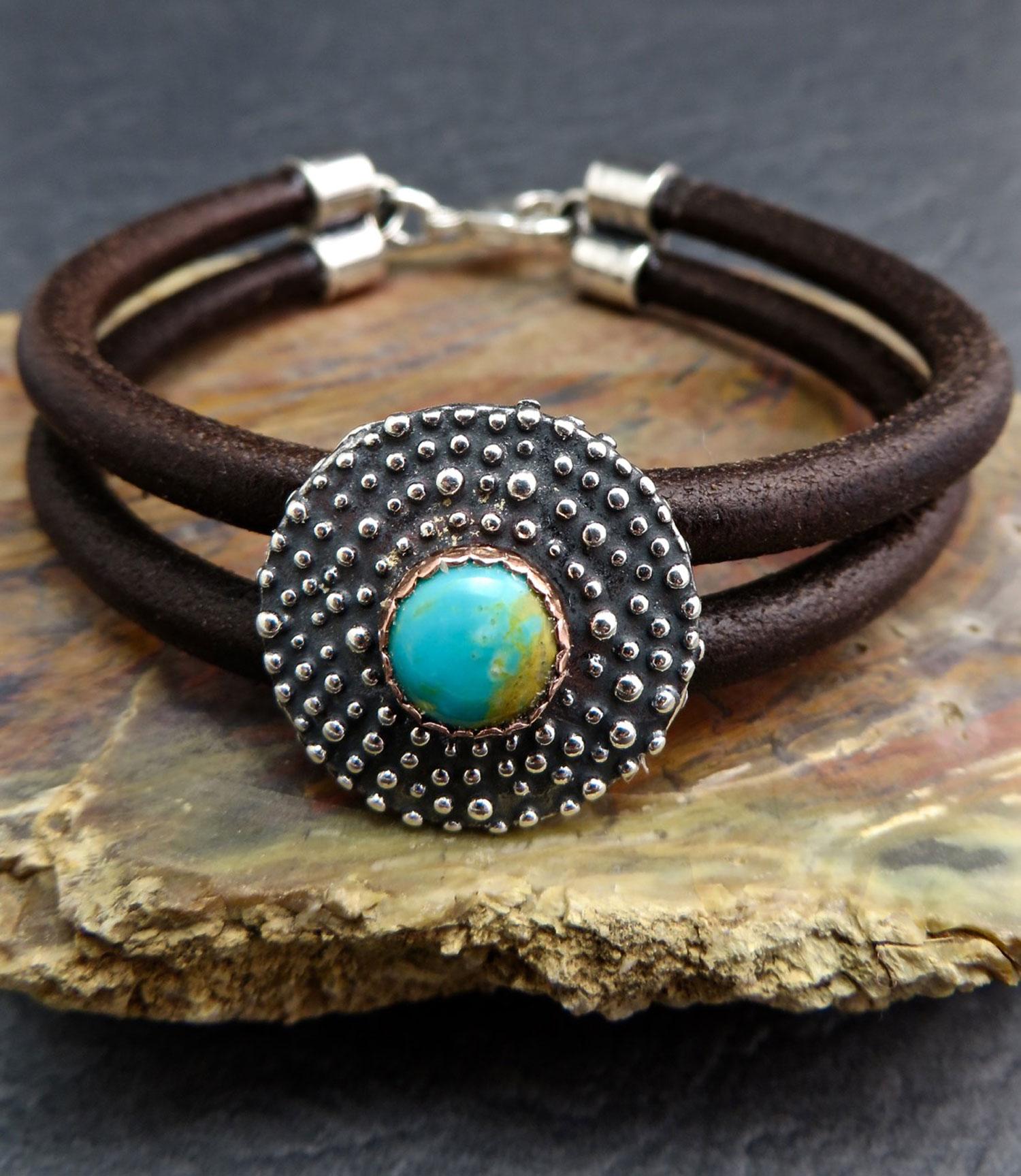 Granulated Concho Double Strand Leather Bracelet Custom Handmade Jewelry Earrings Necklaces Prescott AZ