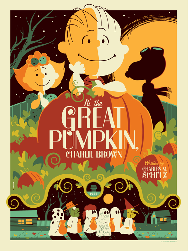 ITS THE GREAT PUMPKIN CHARLIE BROWN Poster Art From Tom Whalen