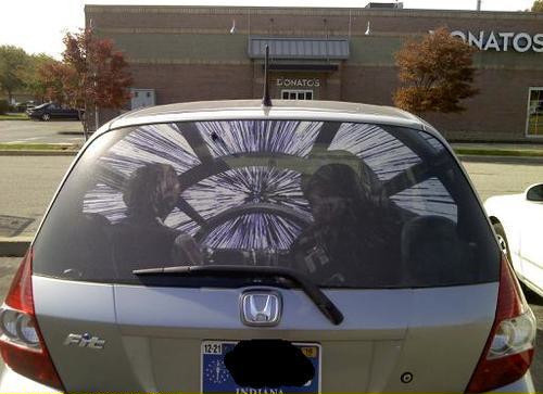 Check out this millennium falcon rear window car decal