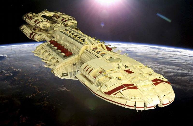 Huge Lego Battlestar Galactica Spaceship on Star Trek Starship Parts
