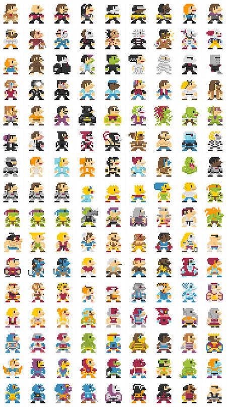 696 Superheros in 8-bi...