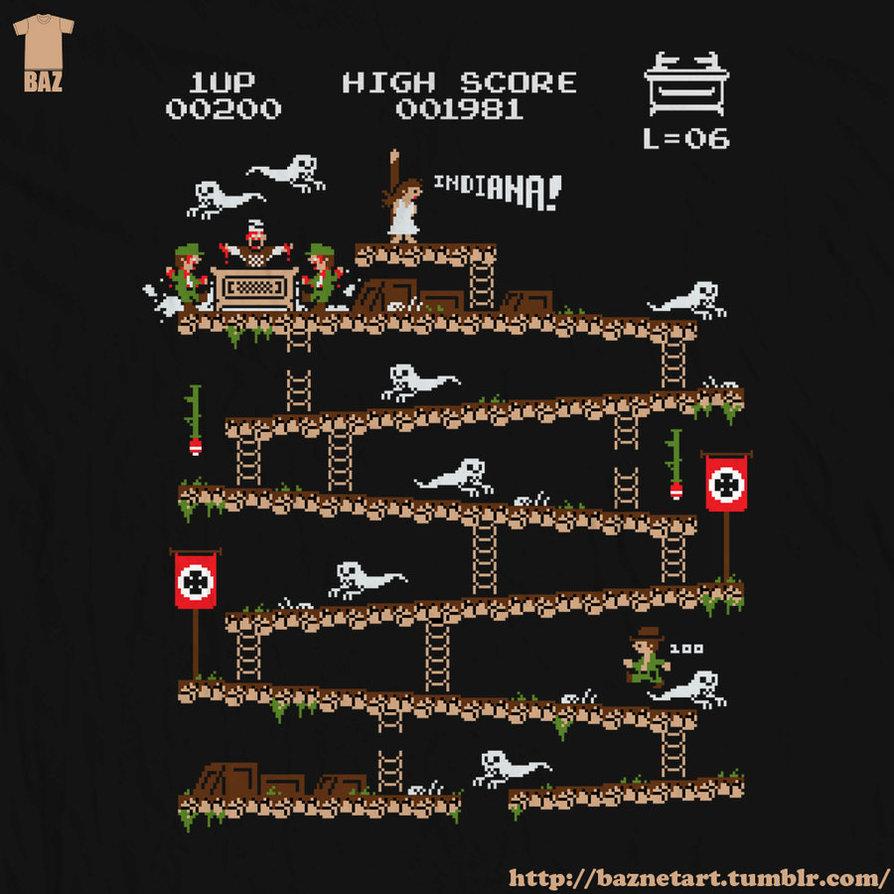 Shirt design video - Donkey Kong Inspired Indiana Jones Video Game Art