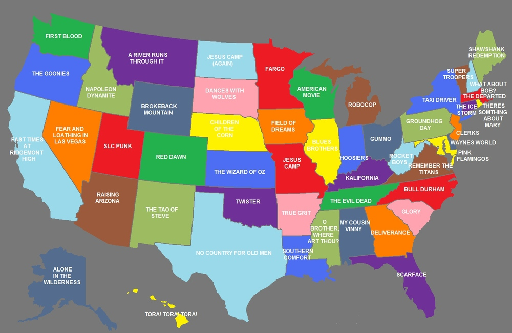 Map Shows Us What Movies Best Represent Each US State GeekTyrant - Accurate map of us