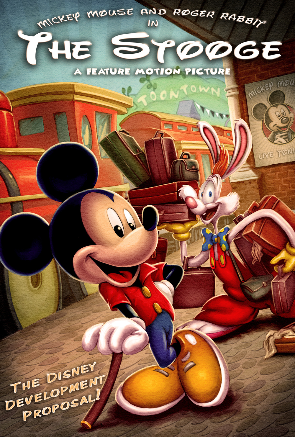 New Promo Art For The Stooge With Mickey Mouse And Roger