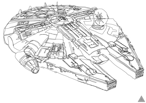 Star Wars Line Drawing Single Continuous Line