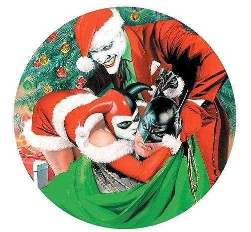 Geek art the joker and harley quinn bag a bat for for Cool christmas art