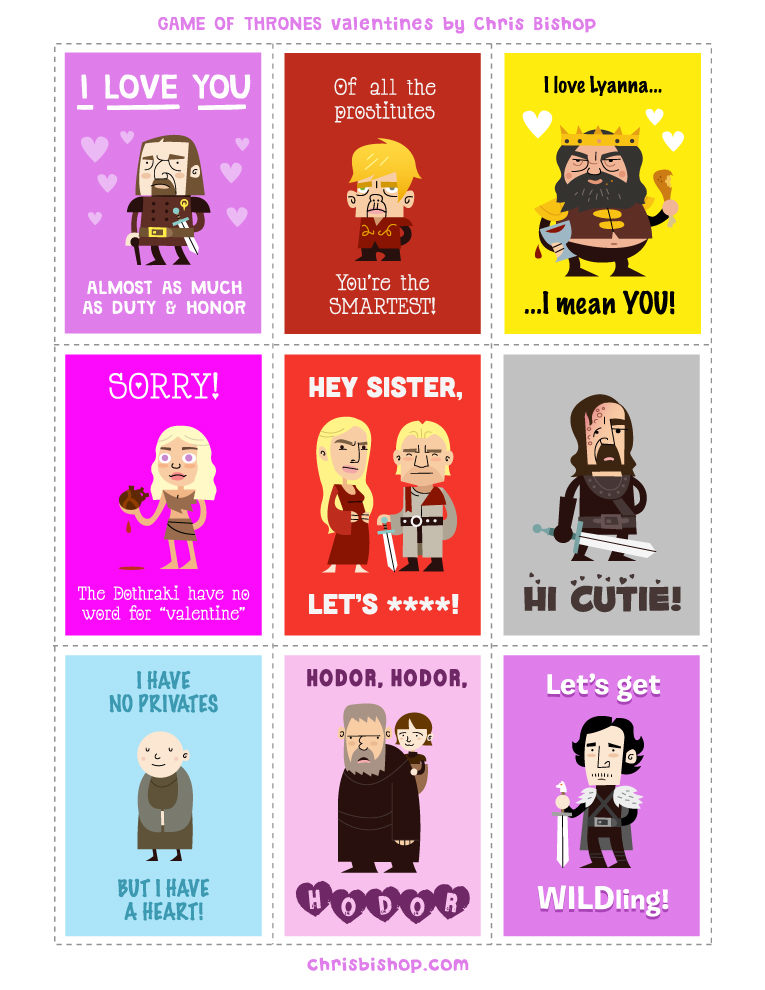 GAME OF THRONES Valentines Day Cards GeekTyrant – Printable Funny Valentine Cards
