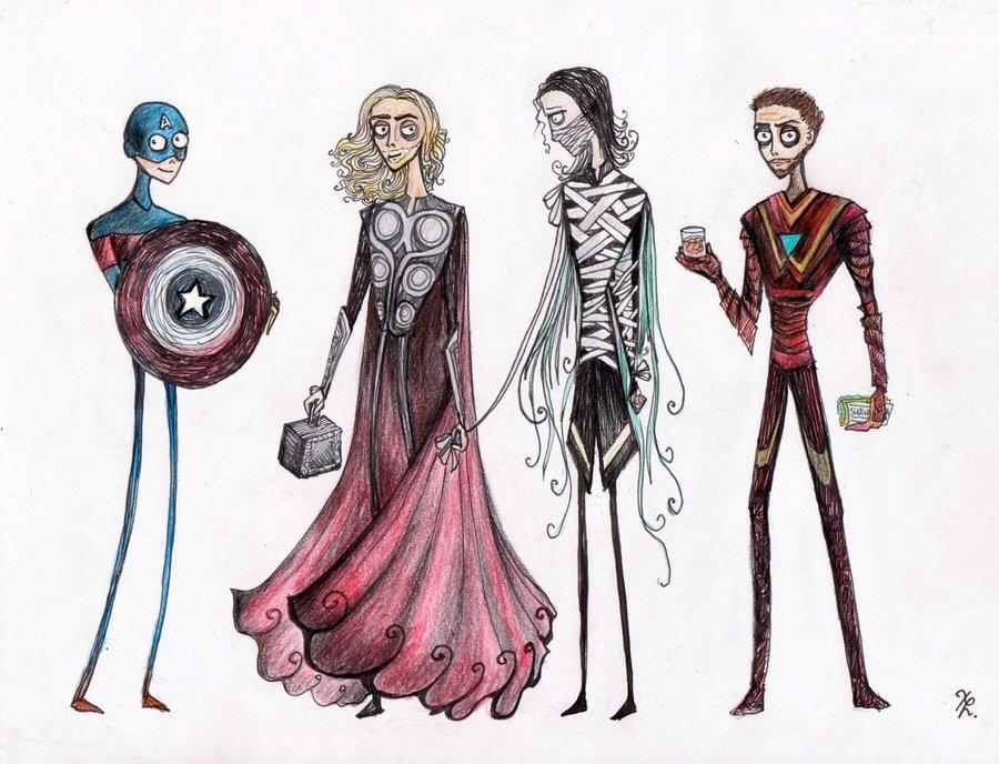 What If THE AVENGERS Were Designed By Tim Burton? u2014 GeekTyrant