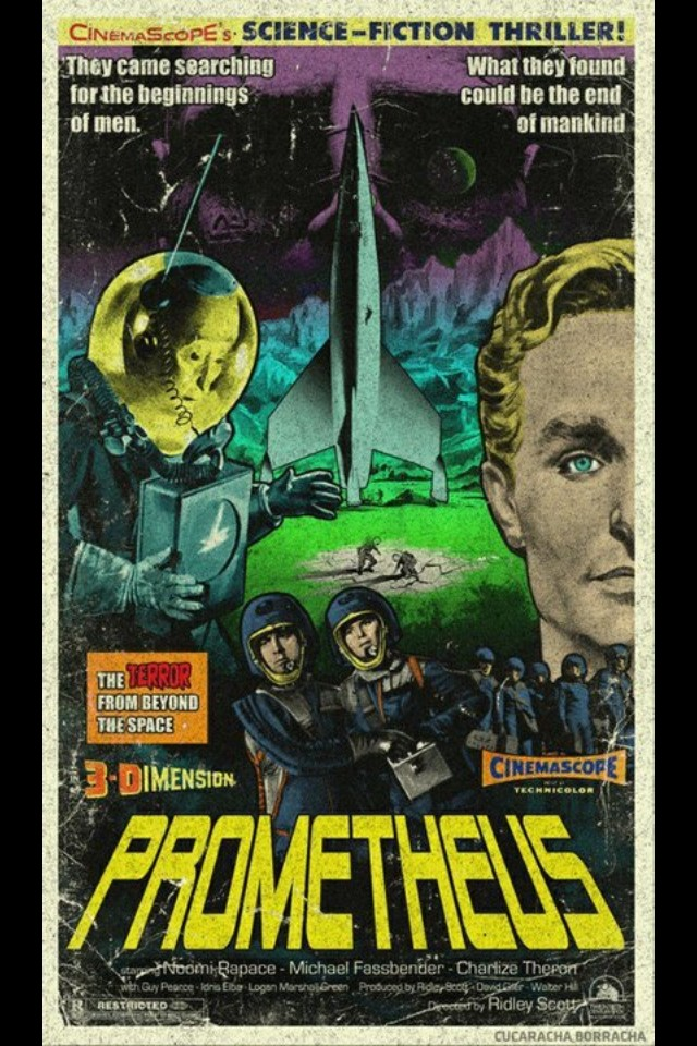 retro 1950s style prometheus movie poster geektyrant