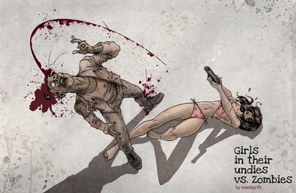 Girls in their undies vs zombies Girls-vs-zombies-2