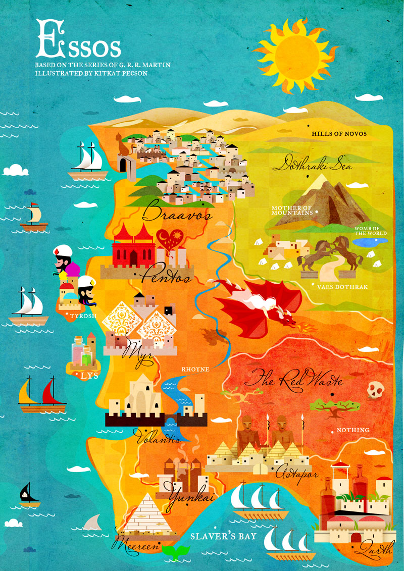 Playful GAME OF THRONES Maps for Westeros and Essos ...