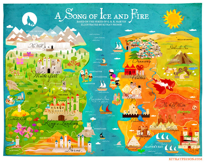 Playful GAME OF THRONES Maps for Westeros and Essos — GeekTyrant