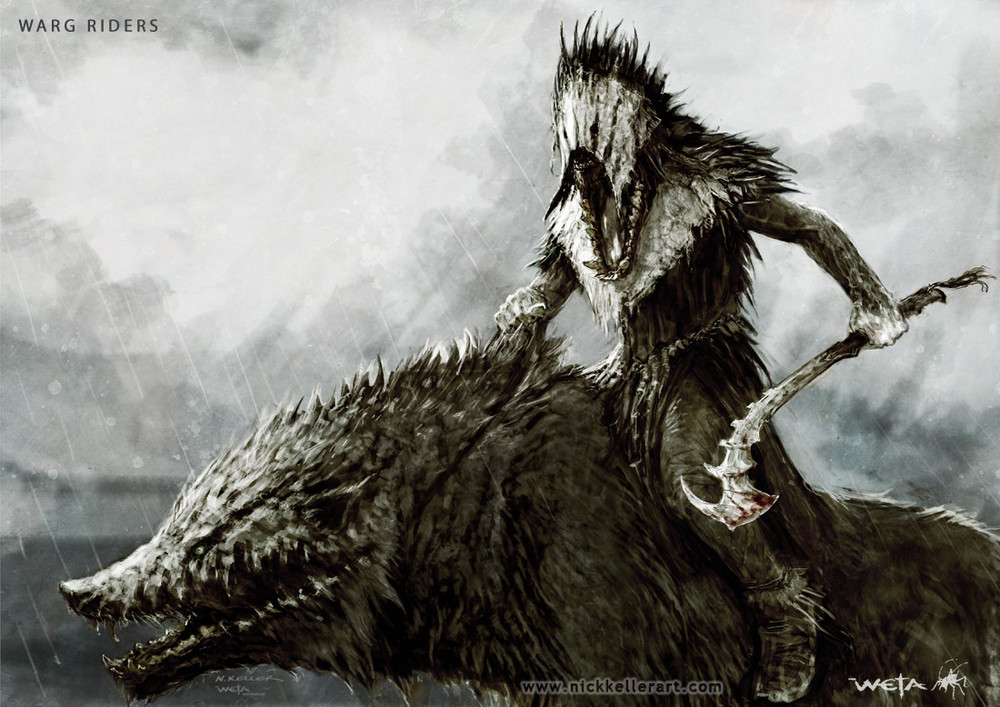 Concept Art for THE HOBBIT - Warg Riders, Costumes, and ... Warg Riders Drawings