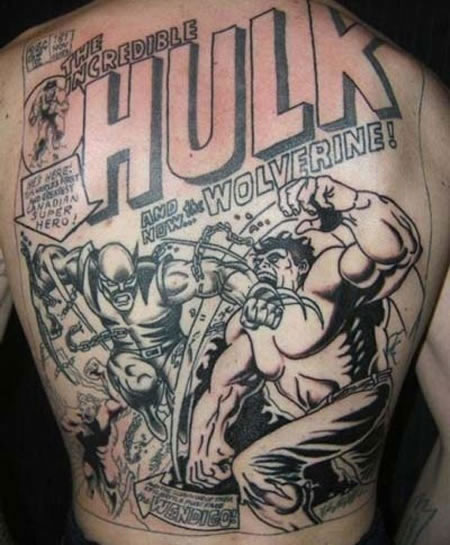 Crazy hulk vs wolverine comic book tattoo geektyrant for Marvel comics tattoos