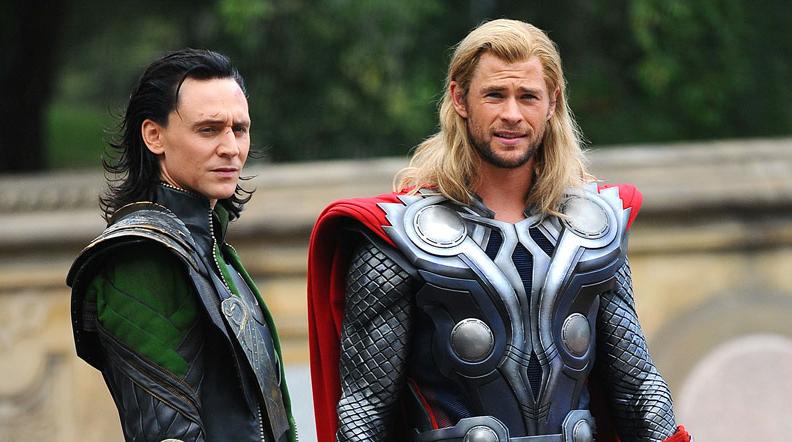 Tom Hiddleston as Loki and Chris Hemsworth as Thor.