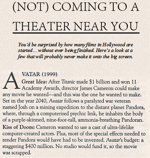 1999 Newspaper Article says AVATAR Would Never be made into