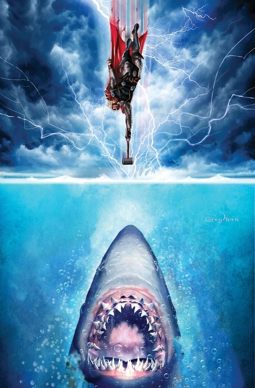 Jaws Book Cover Art : Incredibly badass thor vs jaws poster — geektyrant
