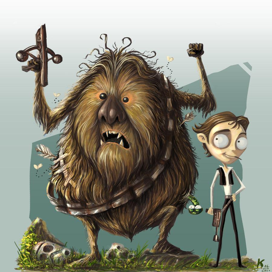 Tim Burton Style Chewbacca and Han SoloBaby Chewbacca Art