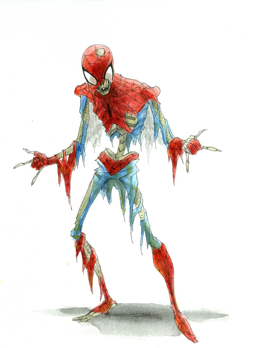 Geek Art Zombified Spider Man Skeleton Geektyrant