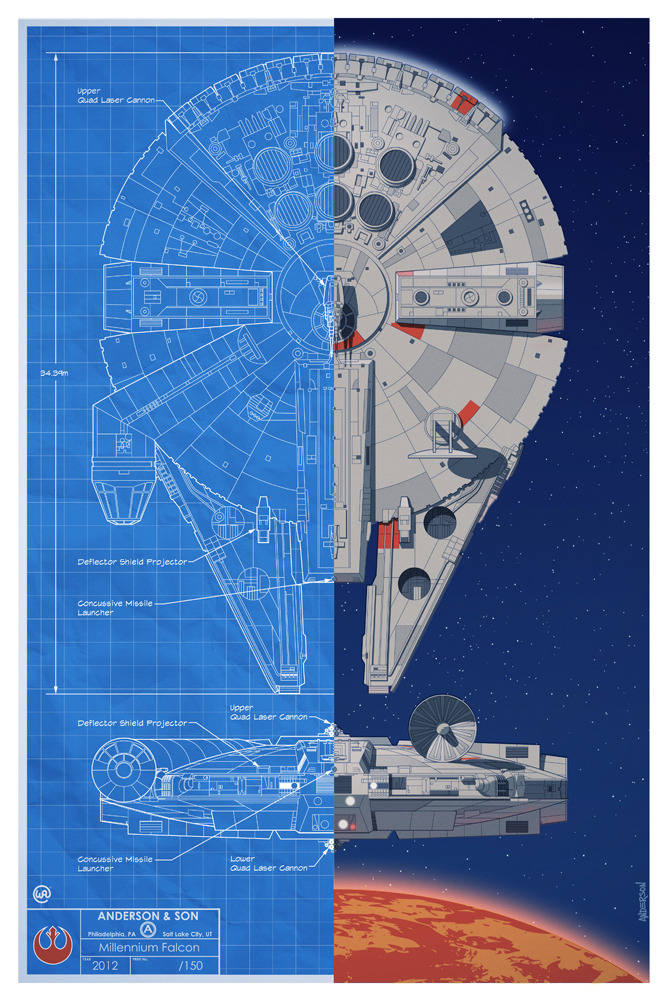 Star wars inspired battle of yavin spacecraft blueprint posters check out this awesome set of blueprint style star wars poster art featuring the spacecraft fighters that were used in the epic battle of yavin malvernweather Gallery