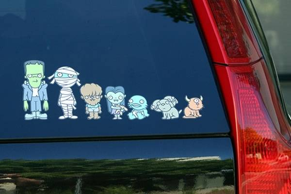 my monster family stickers turn your car into a geek mobile geektyrant. Black Bedroom Furniture Sets. Home Design Ideas