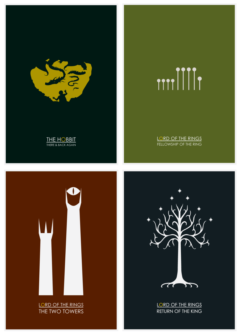 Minimalist posters for the hobbit and the lord of the for Minimalist house definition