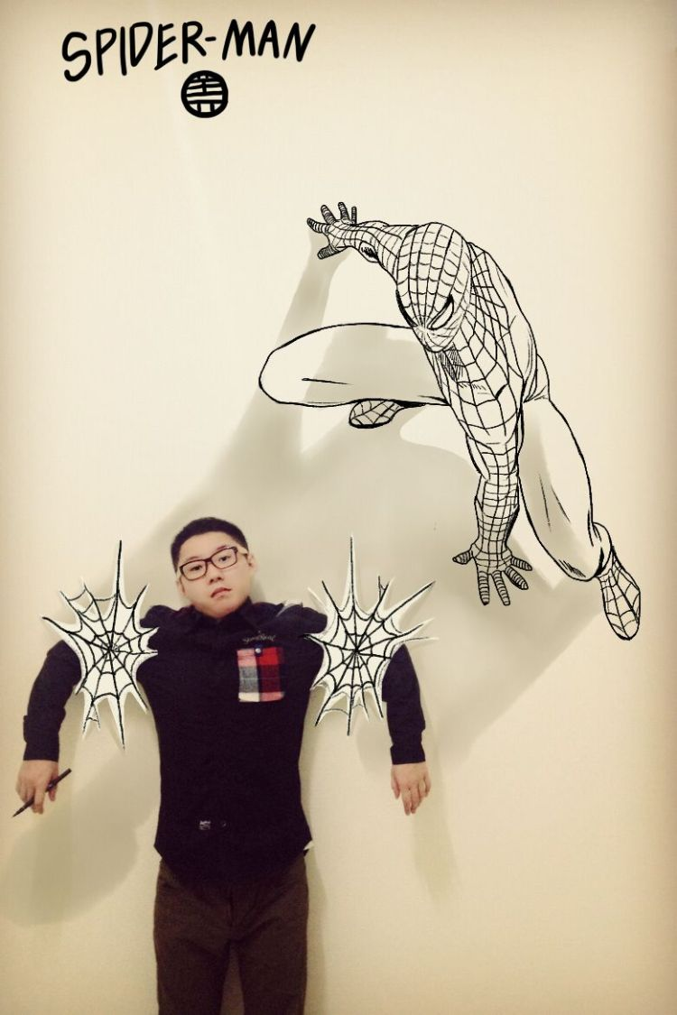 Cool photos of artist trapped in his own manga art series for Cool wall art drawings