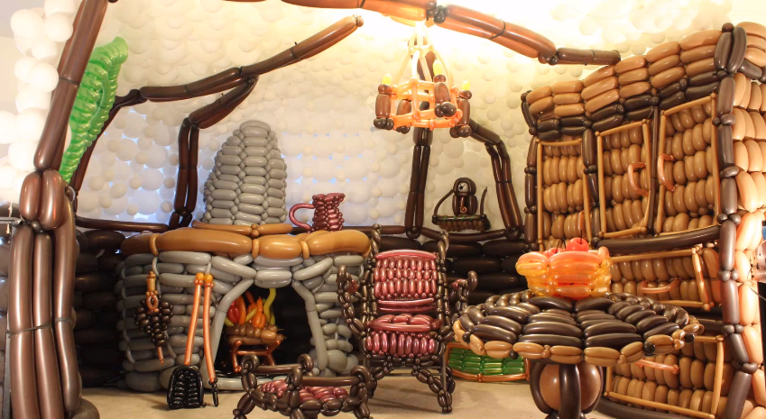 Life Size Hobbit Hole Made Out Of Balloons Geektyrant