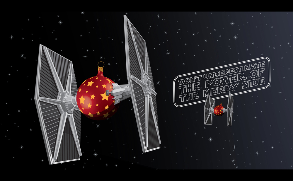 New star wars christmas card features tie fighter ornament balls