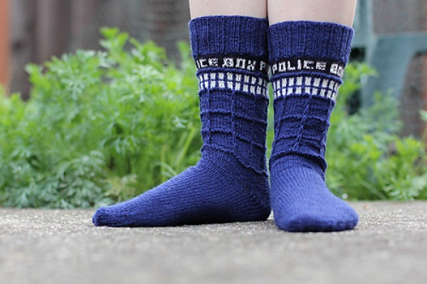 Knitting Pattern For Tardis Socks : DOCTOR WHO Inspired TARDIS Socks and Baby Dalek Dress   GeekTyrant