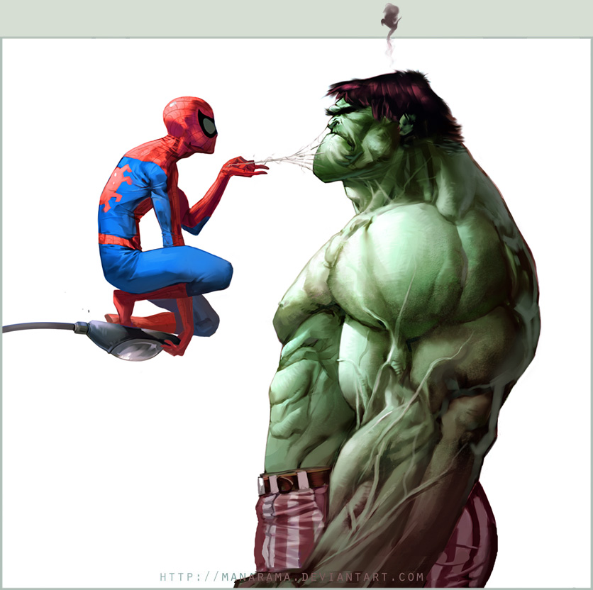 geek art awesome image of spider man being a smartass to hulk