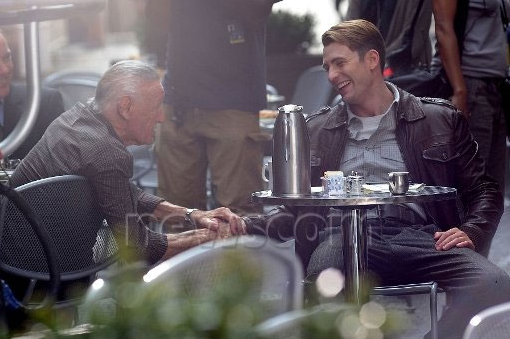 The Avengers Set Photos Of Stan Lee With Chris Evans