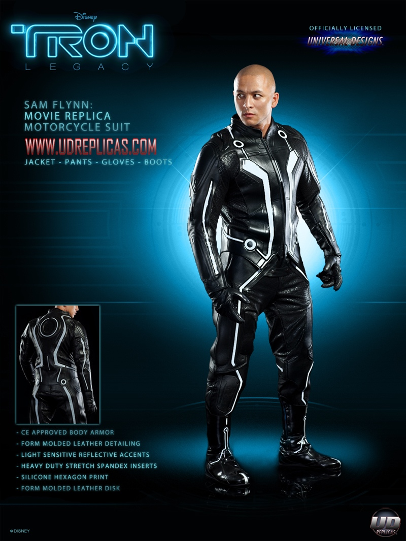 Leather Motorcycle Jacket With Armor Official TRON: LEGACY Light Bike Motorcycle Suits! — GeekTyrant