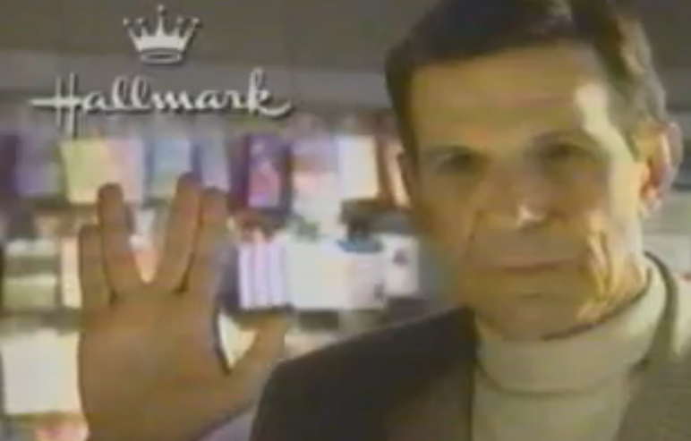 leonard nimoy gives a whole new meaning to the vulcan salute in this 1992 star trek hallmark christmas tree ornament commercial do any of you own this star - Hallmark Christmas Commercial