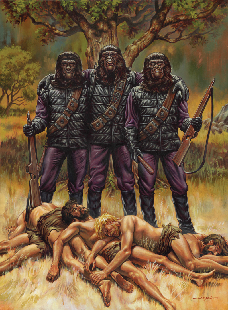 geek art planet of the apes apes go human hunting geektyrant