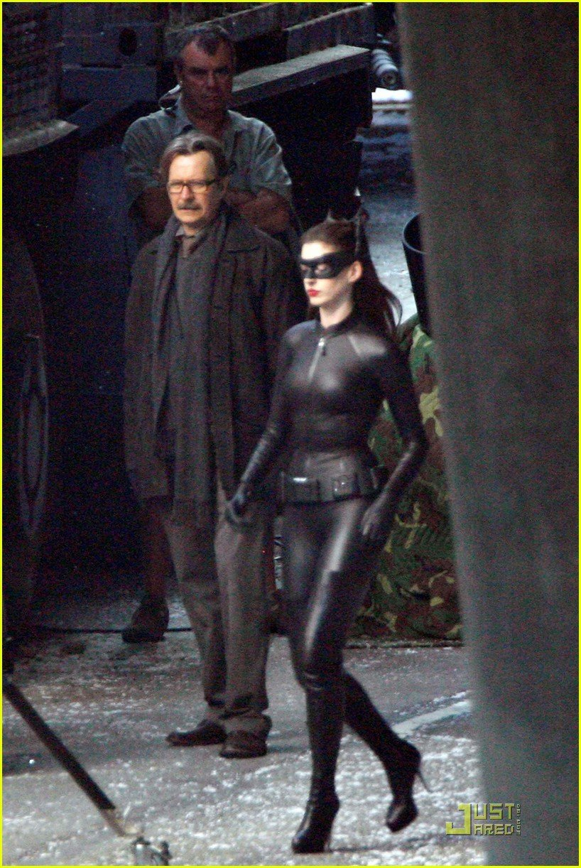 Anne Hathaway in Full Catwoman Gear with Cowl and Cat Ears ...