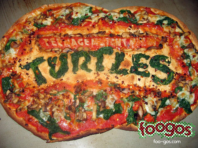The Great Teenage Mutant Ninja Turtle Logo Design Made Out Of Pizza