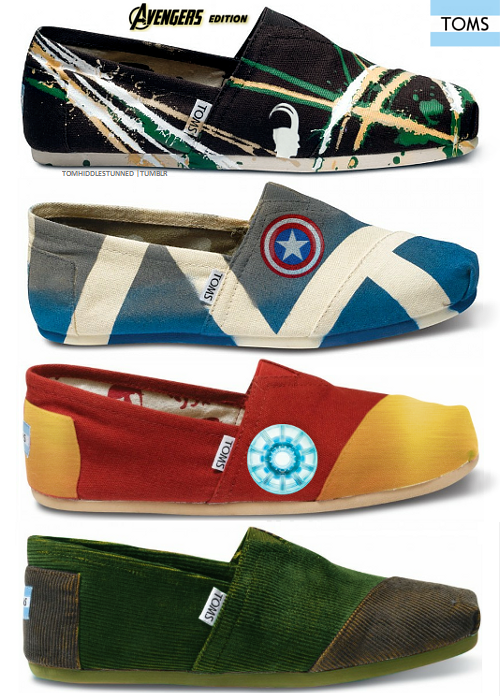 wholesale dealer b8f83 99066 Here s an awesome series of Avengers themed TOMS shoes! They ve got Loki, Captain  America, Iron Man, Hulk, Thor, Hawkeye, and Black Widow.