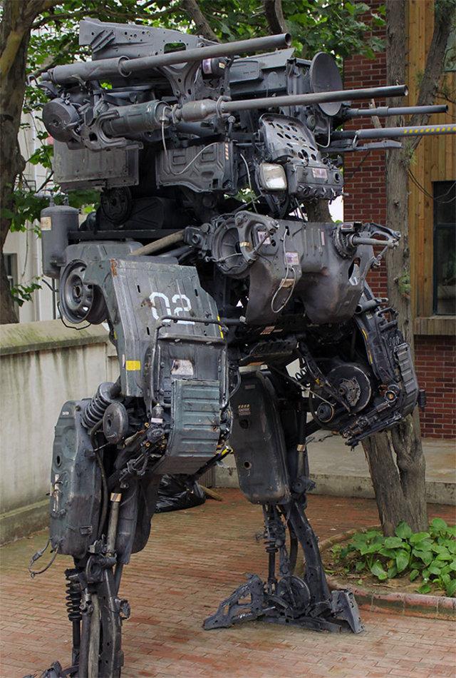 Incredible 12-Foot Mech Sculpture Made of Car Parts ...