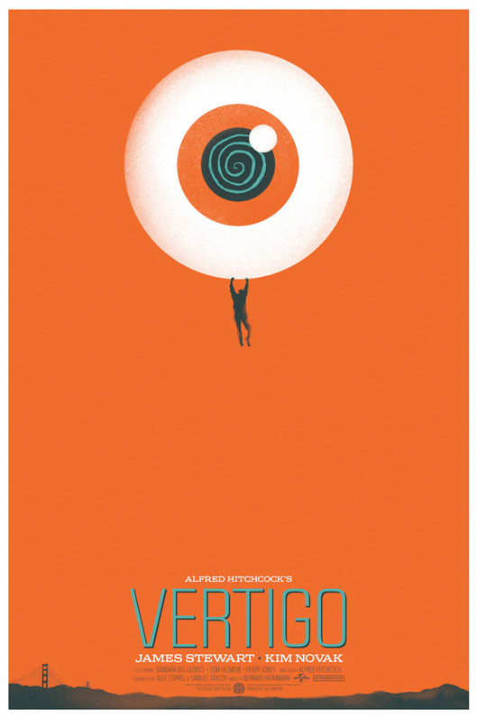 "Vertigo poster by Ghoulish Gary Pullin. 24""x36"" screen print. Edition of 240. $40."