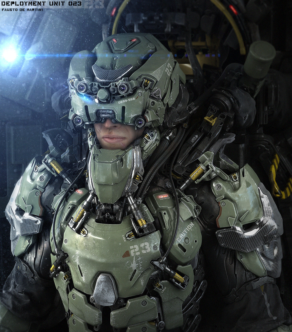 Amazing Futuristic Military Gear Art - Deployment Unit 023 ... Futuristic Robot Soldier