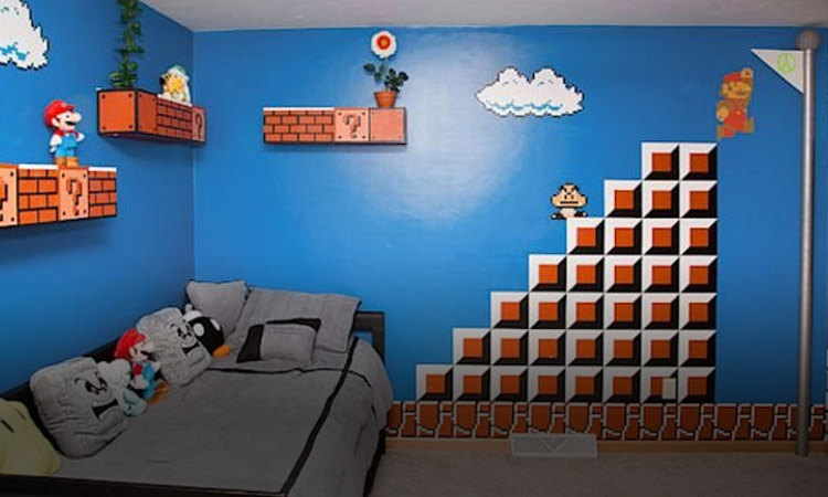 Dad Creates Super Mario Themed Bedroom For Daughter