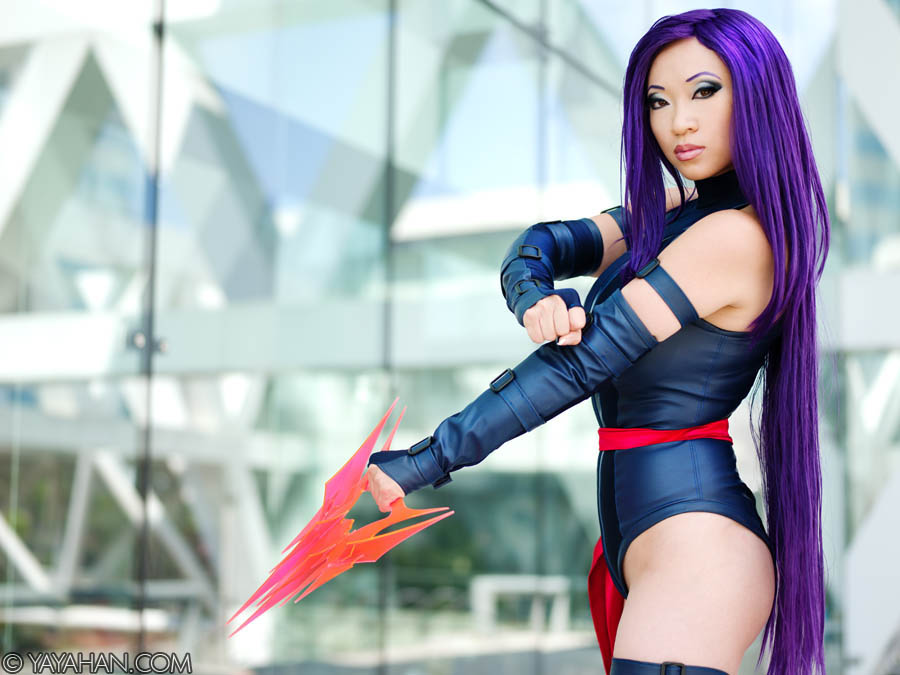 Yaya Han  is Psylocke | Photo by:  Anna Fischer  | Blade by:  Volpin Props