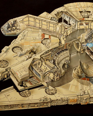 20 year old millennium falcon cut away art from lucasfilm geektyrant. Black Bedroom Furniture Sets. Home Design Ideas