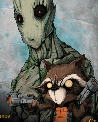 Cool Rocket Raccoon And Groot Character Art From Guardians Of The