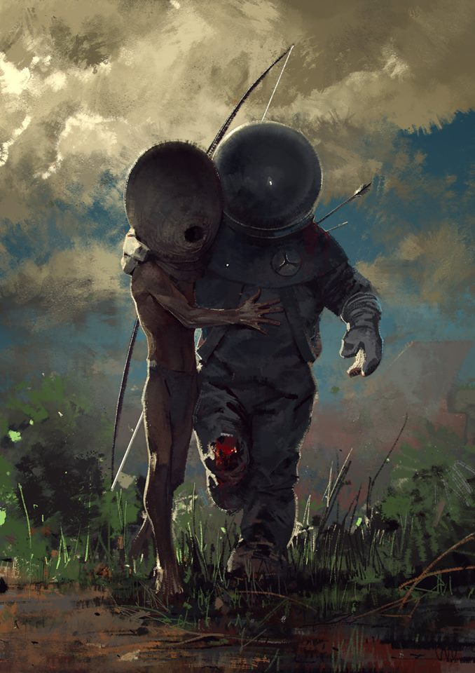 "Alien Helps Astronaut in Illustration called ""Help ..."