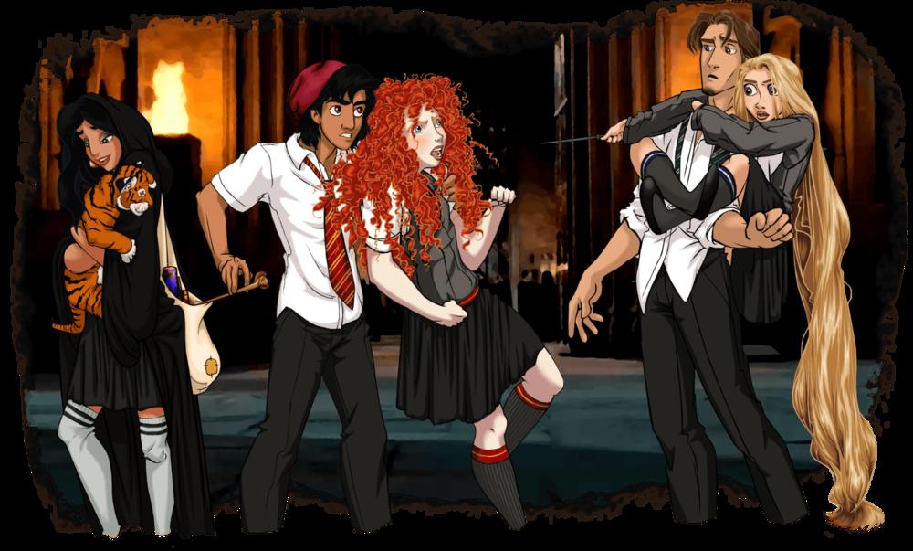 Princess Jasmine, Rajah, Aladdin, Merida, and Flynn