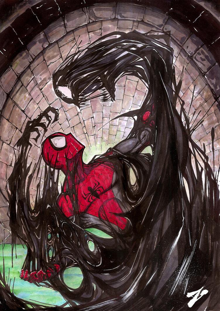 Spider-Man Vs  Venom Symbiote in Fan Art by Zuleta MiguelVenom Spiderman 3 Drawings