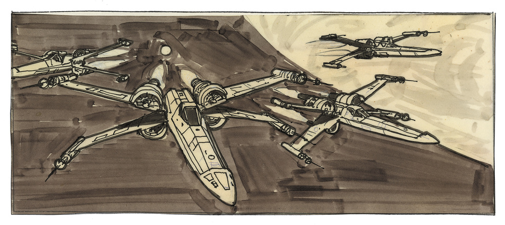 An early iteration of the rebel fighters' departure from Yavin 4 as the attack on the Death Star begins – Gary Myers