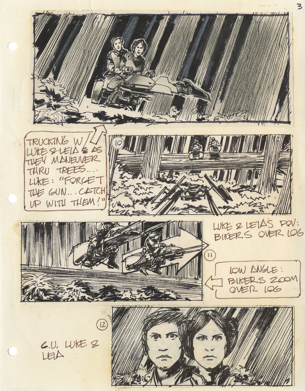 A giant log bars Luke and Leia's path – Joe Johnston